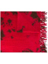Suzusan Boucle Knit Scarf Red
