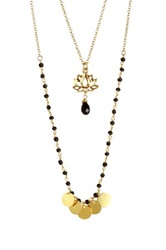 Leila Lotus Necklace Black