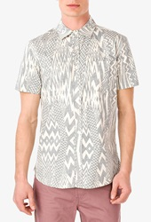 Forever 21 Slim Fit Tribal Print Shirt Cream Grey