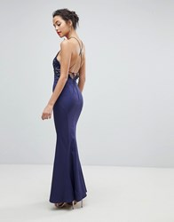 Jarlo High Neck Lace Dress With Tie Back Detail Navy
