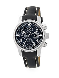 Fortis F 43 Stainless Steel And Leather Chronograph Watch Black