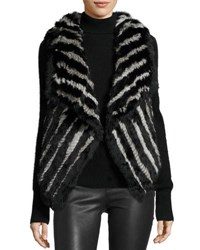 Neiman Marcus Striped Fur Vest Black Gray