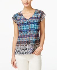 Ny Collection Petite Printed Cutout Shoulder Blouse Teal Spyscope