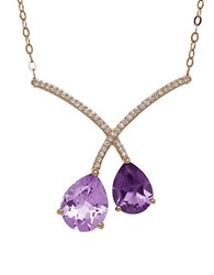 Lord And Taylor Amethyst 14K Rose Gold Necklace