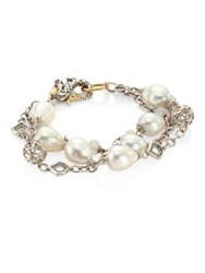John Hardy Legends Naga 10Mm White Baroque Pearl And White Moonstone Triple Row Bracelet Silver Multi