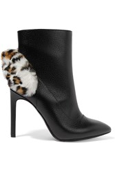 Carven Faux Fur Trimmed Textured Leather Ankle Boots Black