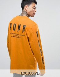 Puma Graphic Long Sleeve Top In Orange Exclusive To Asos 57533702 Yellow