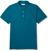 Several Rosko Slim Fit Cotton Pique Polo Shirt Bright Blue