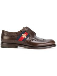 Gucci Bee Gg Web Trim Brogues Calf Leather Leather 7.5 Brown