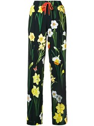 Dolce And Gabbana Floral Print Jogger Trousers Black