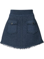 Derek Lam 10 Crosby Patch Pocket Mini Skirt Blue