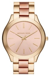 Michael Michael Kors Women's Michael Kors 'Slim Runway' Bracelet Watch 42Mm Gold Rose