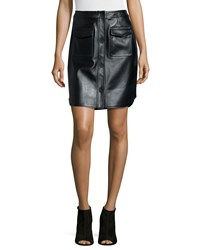 Opening Ceremony Leather Button Front Miniskirt Size 4 Black