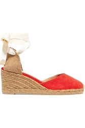 Castaner Carina Canvas Wedge Espadrilles Tomato Red