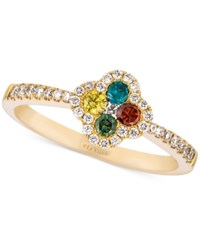 Le Vian Exotics Diamond Multicolor Floral Ring 3 8 Ct. T.W. In 14K Gold No Color