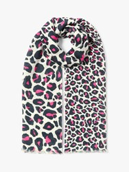 John Lewis Collection Weekend By Cotton Blend Animal Print Scarf Pink Mix