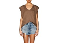 Lilla P Slub Knit Pima Cotton Blend Top Brown
