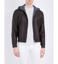 Brunello Cucinelli Reversible Leather Bomber Jacket Chocolate