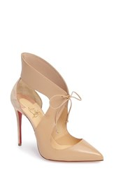 Christian Louboutin Women's Ferme Rouge Pointy Toe Pump Nude Leather