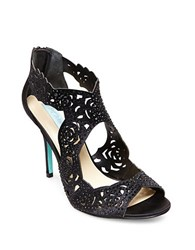 Betsey Johnson Livie Satin Caged Pumps Black