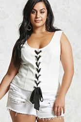 Forever 21 Plus Size Lace Up Crop Top White Black