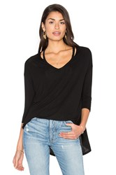 Michael Stars 3 4 Slit Shoulder V Neck Top Black