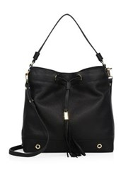 Milly Astor Leather Drawstring Hobo Bag Black