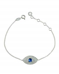 Diana M. Jewels 18K Diamond And Sapphire Evil Eye Station Bracelet 0.51Tcw