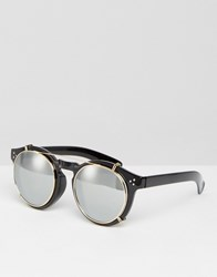 Jeepers Peepers Round Sunglasses With Mirror Lens Black