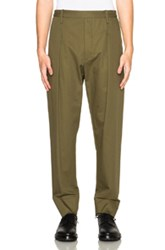 Christophe Lemaire Lemaire Light Cotton Linen Canvas Elasticated Pants In Green