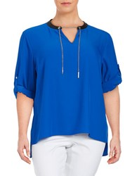 Calvin Klein Plus Chain Accented Crepe Blouse Celestial
