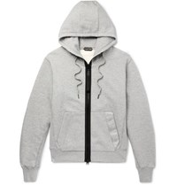Tom Ford Oversized Logo Trimmed Garment Dyed Fleece Back Cotton Jersey Hoodie Gray