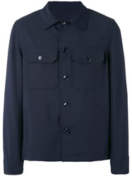 Massimo Piombo Mp Military Shirt Jacket Men Cotton Mohair Wool 50 Blue