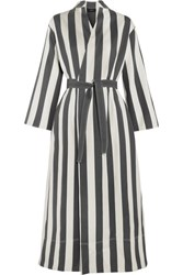 Joseph Laurence Striped Cotton And Silk Blend Wrap Dress White