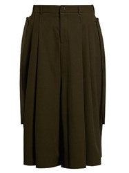 Damir Doma Pavlov Wide Leg Wool Gabardine Trousers Dark Green