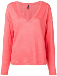 Woolrich V Neck Knitted Top Pink