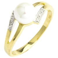 A B Davis 9Ct Gold Double Open Diamond And Pearl Ring Gold White