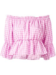 Dondup Checked Off Shoulder Blouse Pink Purple