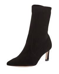 Stuart Weitzman Rapture Suede Sock Booties Black