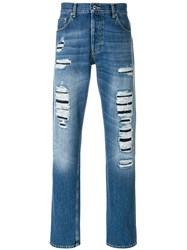 Alexander Mcqueen Straight Leg Distressed Jeans Cotton Blue