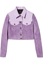 Burberry Cropped Patent Leather Paneled Suede Jacket Purple