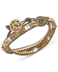 Lonna And Lilly Gold Tone Crystal Bead Evil Eye Wrap Bracelet Blue Green