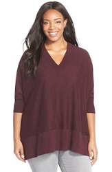Sejour V Neck Dolman Sleeve Pullover Plus Size Burgundy Black Pattern