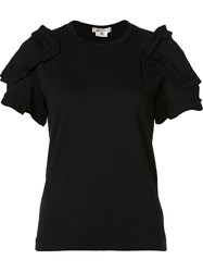 Comme Des Garcons Ruffle Sleeve Top Black