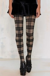 Nasty Gal Plaid It Up Tights Beige