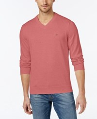 Tommy Hilfiger Men's Signature Solid V Neck Sweater Tea Rose H