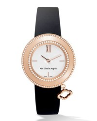Pink Gold Charms Watch With Diamonds 32Mm Van Cleef And Arpels Pink Gold