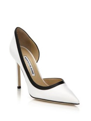 Manolo Blahnik Collette Two Tone Leather Pumps White Black
