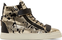 Giuseppe Zanotti Silver And Black Spattered Snakeskin London Miro Sneakers
