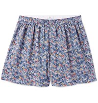 Sunspel Liberty Floral Print Cotton Boxers Navy